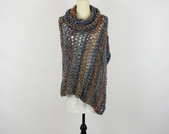 Poncho Crochet - Classic Piece in Multicolours with Cowl Neck