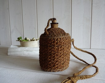 French antique chanvre and amber glass Flask Bottle