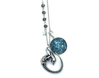 """Alien Inspired Glass Dome Beaded Charm 20"""" Chain Necklace Silver Tone"""