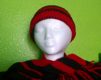 Black and red scarf and beanie