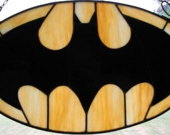 Leaded Stained Glass Batman Logo