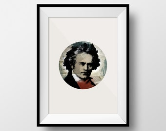 Ludwig van Beethoven Art, Beethoven Art, Beethoven Poster, Beethoven, Classical Music Art, Music Art, Musician Art, Gift for Musician