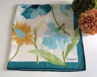Large Vintage Floral Square Silk  Scarf by Torrente Paris Floral Vintage Designer Scarf, Woman Gift, Mother Gift, Friend Gift