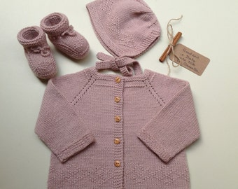 READY TO SHIP - 100% cashmere Baby set bonnet hat, cardigan jacket an booties hand knit 3-9 months