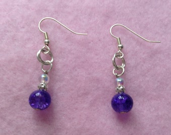 Silver Drop/ Dangle Purple Earrings.