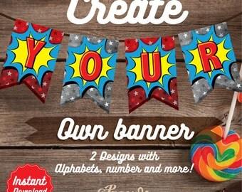 30% OFF - Wonder Woman Banner, Instant Download Wonder Woman Bunting, Printable Wonder Woman Party Decoration, DIY, Wonder Woman Birthday