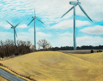 Bishop Hill Windmills Wind Farm Countryside Original Painting