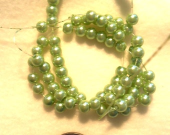 6 mm Glass Pearls, Light Green  (C5)