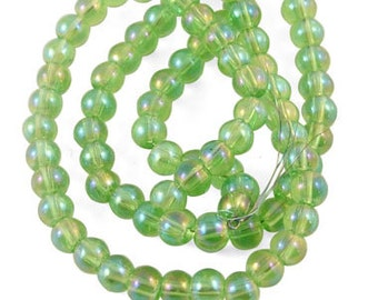 1 Strand AB Color Plated 4mm Round Glass Beads Green (B44i)