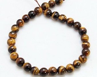 1 Strand Natural 8mm Round Tiger Eye Gemstone Beads (B107e2)
