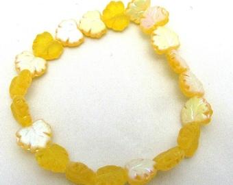 1 Strand Czech Glass 10x13mm Y. Yellow Matte Maple Leaf (B13)
