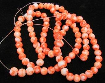 1 Strand 8mm Mottled Glass Round Beads Orange/White (B43b1/64c)