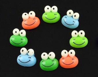 25 Flatback Resin Frog Cabochons 12 x 13mm (B21)
