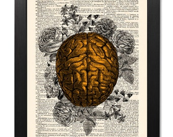 Anatomical Brain and flowers, Dictionary art print, Anatomy Print, Old book page, Anatomy art, Art Print, Gift poster [ART 007]