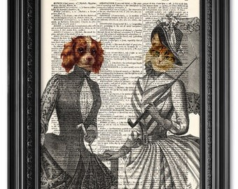 Lady Cat and Lady Dog, Dictionary art print, Vintage book art print, upcycled dictionary page, Home Wall Decor, Gift poste  [ART 104]