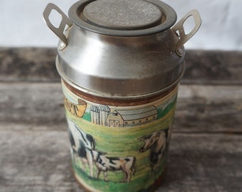 Vintage Our Daily Best Cow Milk Jug Shaped Tin Can Container
