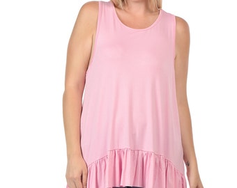 Ruffled Drape Tank - Plus Size - Available in Pink, Burgundy, White, Mint & Black