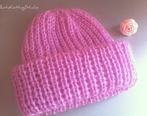 Fashionable mohair hat/ Pink knitted mohair slouchy hat/ Knitting handmade accessories/ Woolen hat/ Gift for her