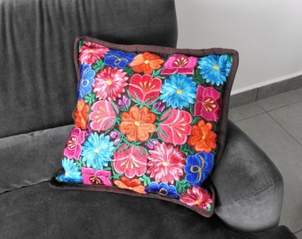 Embroidered pillow cover Dark Brown w/color