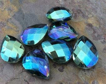 4 Large Teardrop Glass Crystal Beads, Blue, AB Finish, 24x17x11mm