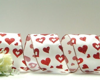 Wired Valentine's Ribbon ~ White Satin Ribbon with Red Glitter Hearts ~ Valentine's Craft Ribbon ~ 5 Yards