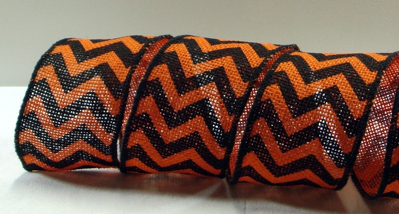2 1 2 Inch Wired Ribbon Black Amp Orange Burlap Chevron