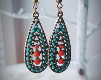 Orange Turquoise Earrings