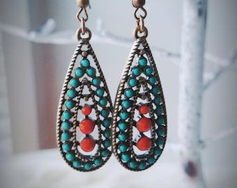 Orange Turquoise Earrings