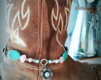 Pink/ Turquoise Flower Boot Charm