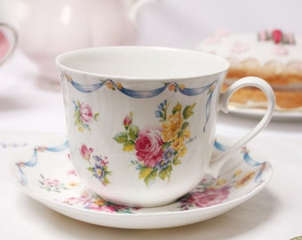 Ribbons and bows, fine bone china large breakfast cup and saucer: by Roy Kirkham. Dresden Sprays, so so pretty.