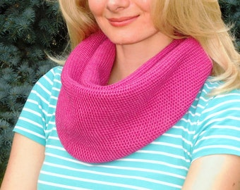 Knit infinity scarf pink scarf cowl scarf neck warmer knitted hood cowl wool infinity scarf womens knit snood Christmas gift for woman gift