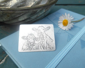 Handcrafted Silver 'Looking at Moo' Cow Brooch