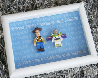 woody and buzz lego first fathers day picture frame fathers day present