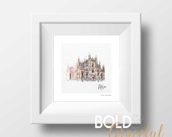 Milan Italy / Cathedral Art Print / Milano / Duomo Cathedral / Watercolor Art / Travel Print / Printable / Digital download / Church / Italy