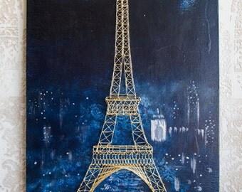String Art, painting, the Eiffel Tower, Paris