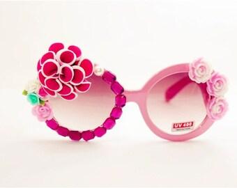 Handmade Specially Designed Floral Decoden Sunglasses