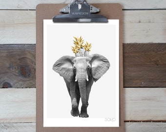 Table block note photo print of pineapple on the head of an elephant