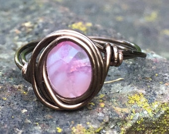 Handmade Pink and Bronze Wire Wrapped Ring Size 6.5