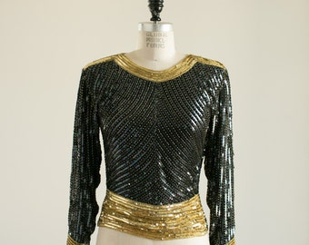 Yves Saint Laurent Rive Gauche Black and Gold Iridescent Sequin Long Sleeve Top