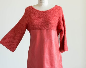 Rare 1960s Vintage Bonnie Cashin Red Knit and Leather Pullover Sweater