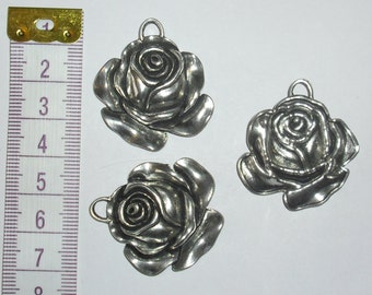 3 x Large Rose Charms *37mm*Tibetan Silver*et*