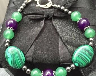 Amethyst, Malachite and Adventurine bracelet.