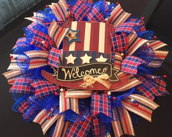 Patriotic 4th of July Deco Mesh Wreath with Welcome Hat (Blue)