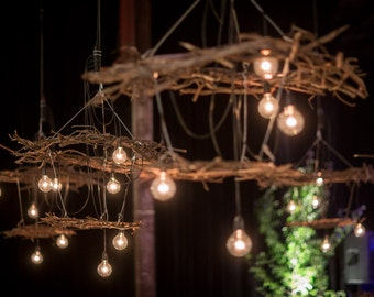 Romantic woodland branch chandelier - two-tiered (for home or weddings)