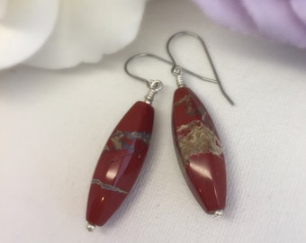 Esther - Red Poppy Jasper earrings