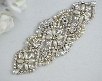 Pearl, Crystal and Rhinestone Applique/ DIY Sash