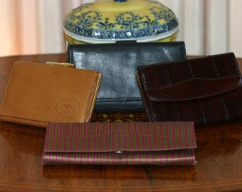 Genuine Italian or Australian leather, eel skin and silk wallets - 4 to choose from