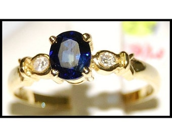 18K Yellow Gold Diamond Solitaire Natural Blue Sapphire Ring [RS0144]