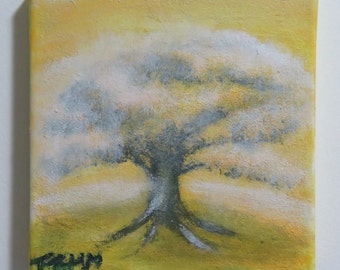 Yellow Tree on a hill acrylic painting on Canvas.