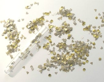 Gold Confetti Test tubes , wedding favours , Unique table decorations for winter weddings, birthday parties , events and celebrations